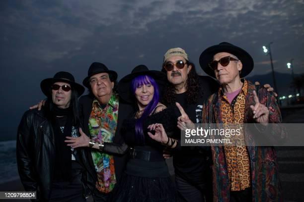 Pepeu Gomes, Paulinho Boca de Cantor, Baby do Brasil, Moraes Moreira and Luiz Galvao, of the legendary Brazilian music group Novos Baianos, pose for...