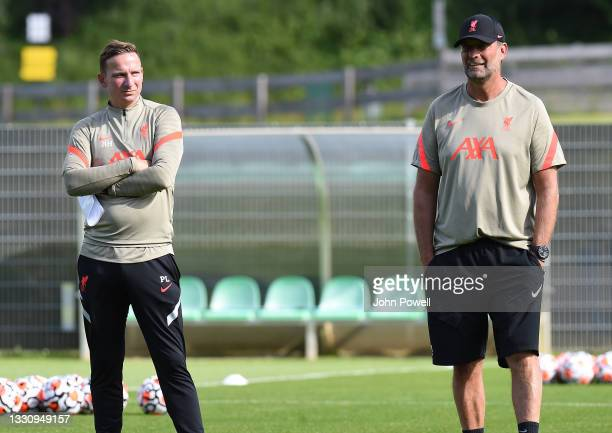 Pepijm Lijnders and Jurgen Klopp manager of Liverpool during a training session on July 27, 2021 in UNSPECIFIED, Austria.