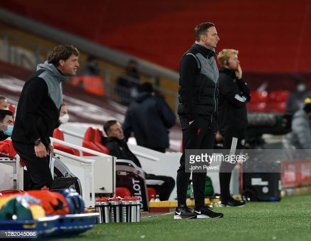 Pepijn Lijnders and Peter Krawietz of Liverpool during the Premier League match between Liverpool and Sheffield United at Anfield on October 24, 2020...