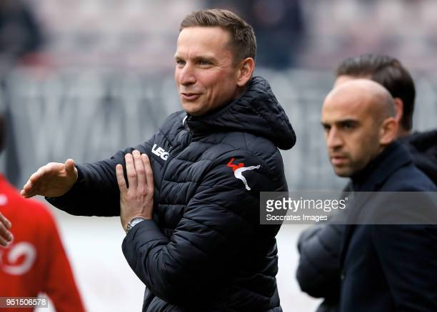 Pepijn Lijnders coach of NEC Nijmegen during the Dutch Jupiler League match between NEC Nijmegen v Telstar at the Goffert Stadium on April 2 2018 in...