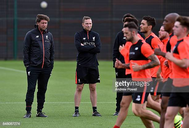 Pepijn Lijnders Firstteam development coach of Liverpool with Peter Krawietz Second assistant coach during a training session at Melwood Training...