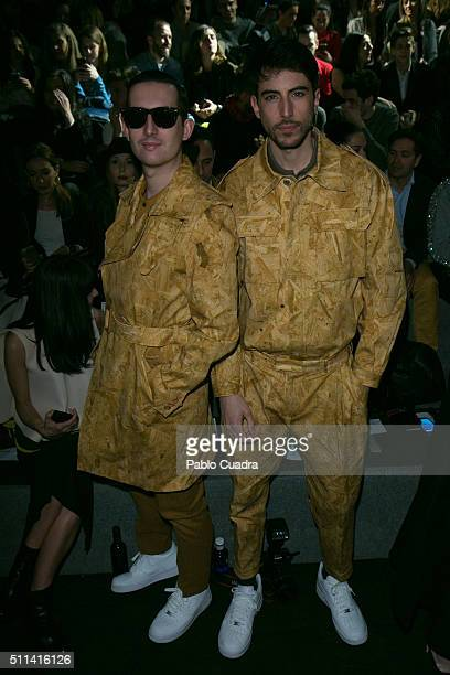 Pepino Crawford attend the front row of Ana Locking show during the MercedesBenz Madrid Fashion Week Autumn/Winter 2016/2017 at Ifema on February 20...