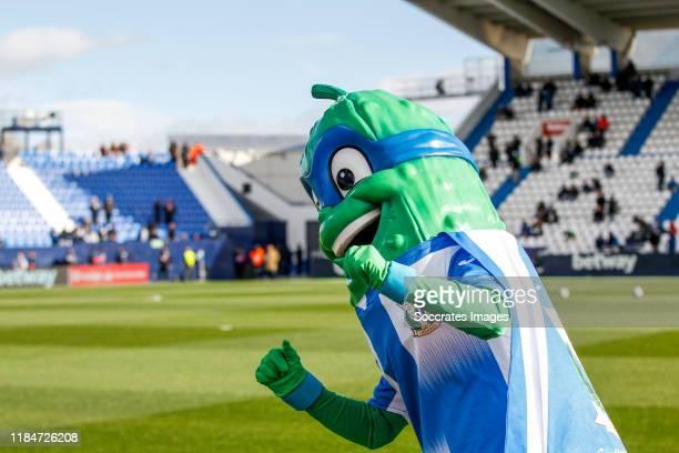 Pepino mascot of Leganes during the La Liga Santander match between Leganes v FC Barcelona at the Estadio Municipal de Butarque on November 23 2019...