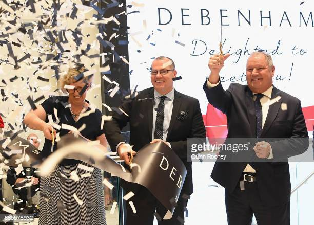 Pepkor CEO Graham Dean and Lord Mayor Robert Doyle cut the ribbon at the opening of the first Australian Debenhams store on October 24 2017 in...