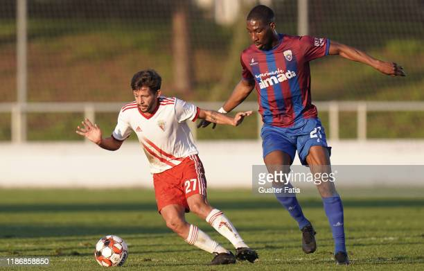 Pepo of UD Vilafranquense with Boubakary Diarra of CD Cova da Piedade in action during the Liga Pro match between CD Cova da Piedade and UD...
