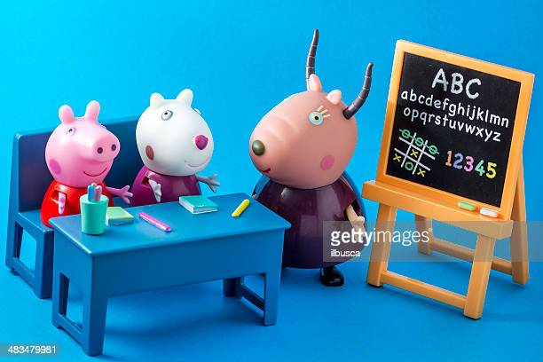 peppa pig animated television series characters: peppap, suzy, madame gazelle - peppa pig stock pictures, royalty-free photos & images