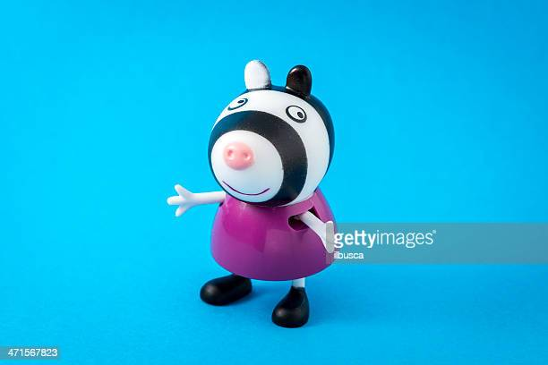 peppa pig animated television series characters: zoe zebra - peppa pig stock pictures, royalty-free photos & images