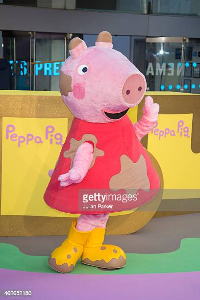 Peppa Pig attends the UK premiere of 'Peppa Pig The Golden Boots' at Odeon Leicester Square on February 1 2015 in London England