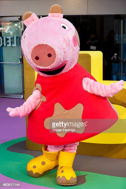 Peppa Pig character attends the premeire of 'Peppa Pig The Golden Boots' at Odeon Leicester Square on February 1 2015 in London England