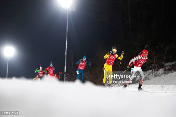 Peppe Femling of Sweden during the Mens Biathlon 4x7,5km Relay at Alpensia Biathlon Centre on February 23, 2018 in Pyeongchang-gun, South Korea.