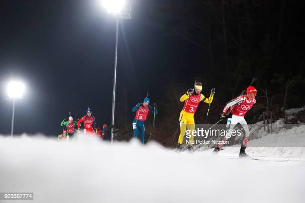 Peppe Femling of Sweden during the Mens Biathlon 4x7,5km Relay at Alpensia Biathlon Centre on February 23, 2018 in Pyeongchang-gun, South Korea.