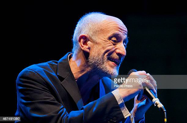 Peppe Servillo Italian actor singer and songwriter sing with Solis String Quartet during Dock of Sound in Rotonda Diaz