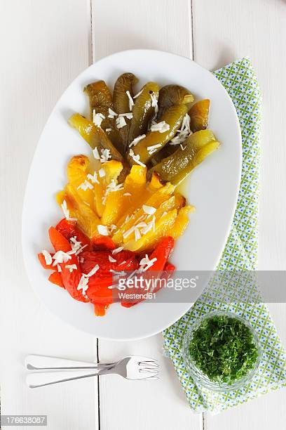 pepper antipasti on plate - yellow bell pepper stock pictures, royalty-free photos & images