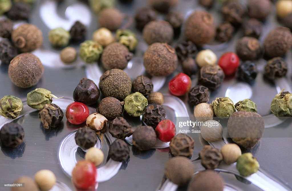 Pepper corns, different varieties, elevated view : Stock Photo