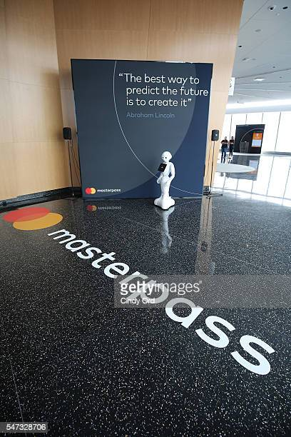 Pepper demonstrates using Masterpass during the Mastercard Evolution of Commerce event at One World Observatory on July 14 2016 in New York City