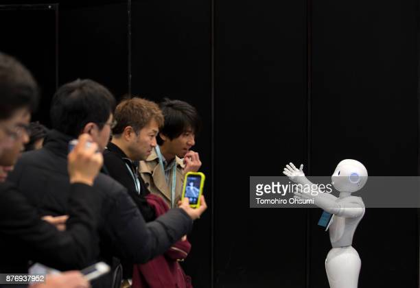 Pepper humanoid robot is demonstrated during the SoftBank Robot World 2017 on November 21 2017 in Tokyo Japan SoftBank showcases robots developed by...