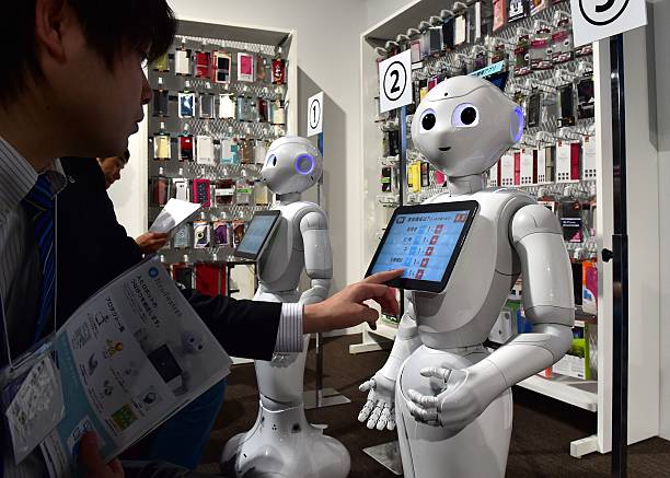 Pepper', humanoid robots from Japan's telecommunication