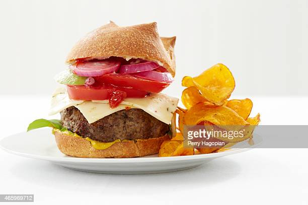 Pepper jack burger made by chef Alexander Weiss winner of Master Chef Junior is photographed for Cheese Connoisseur magazine on June 17 in New York...