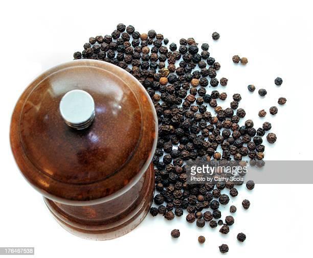 Pepper Mill and Peppercorns