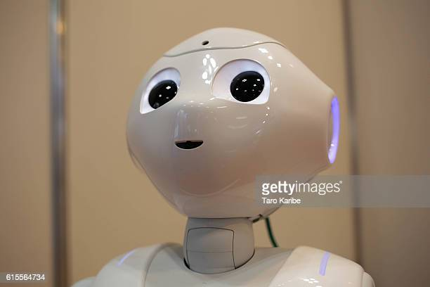 Pepper Robot developed by Softbank talks to the guests during the Japan Robot Week 2016 at Tokyo Big Sight on October 19 2016 in Tokyo Japan At this...