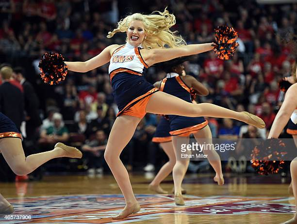 Pepperdine Waves cheerleader performs during a semifinal game of the West Coast Conference Basketball tournament against the Gonzaga Bulldogs at the...