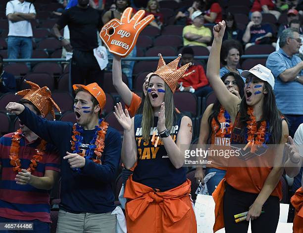Pepperdine Waves fans cheer as the team takes the court for a semifinal game of the West Coast Conference Basketball tournament against the Gonzaga...