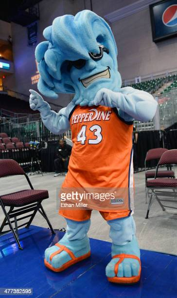 Pepperdine Waves mascot Willie the Wave dances during a quarterfinal game of the West Coast Conference Basketball tournament against the Saint Mary's...