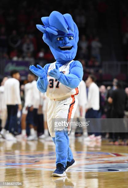 Pepperdine Waves mascot Willie the Wave performs during a semifinal game of the West Coast Conference basketball tournament against the Gonzaga...
