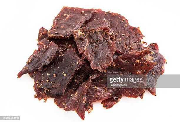 peppered beef jerky - smoked food stock photos and pictures