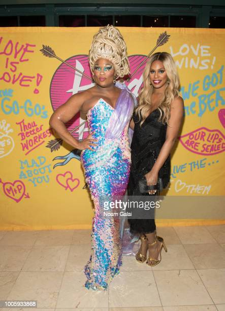 Peppermint and Laverne Cox attend the Head Over Heels Broadway opening night after party at Gustavino's on July 26 2018 in New York City