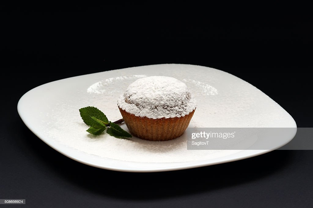 Peppermint cupcake. Sweet cupcake. Close up of mint cupcake. Muffin. : Stock Photo