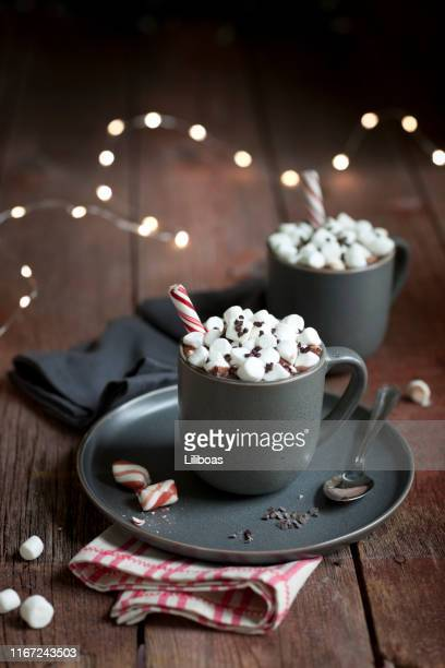 peppermint hot chocolate - hot chocolate stock pictures, royalty-free photos & images