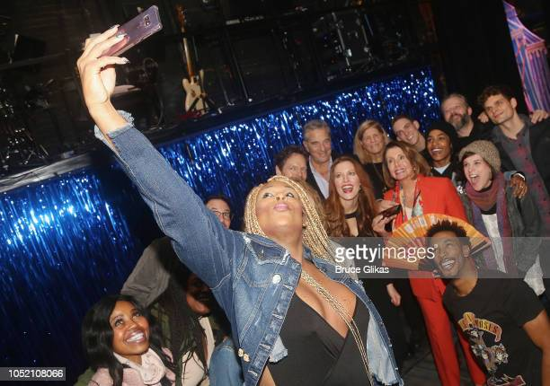 Peppermint takes a selfie of US House of Representatves Leader Nancy Pelosi and the cast backstage at the hit musical based on 'The GoGo's' songs...