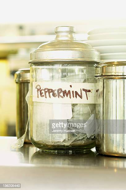 Peppermint tea in a glass container