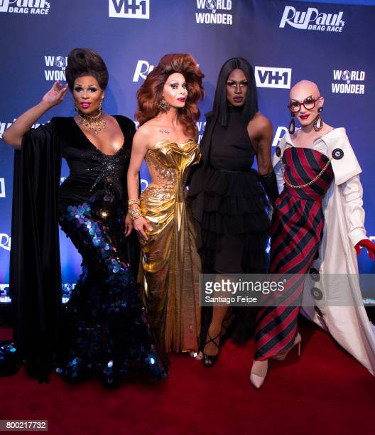 Peppermint Trinity Taylor Shea Coulee and Sasha Velour attend the RuPaul's Drag Race Season 9 Finale Viewing Party at Stage 48 on June 23 2017 in New...