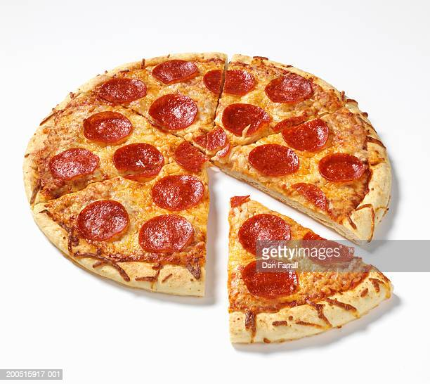 pepperoni pizza, elevated view - pepperoni pizza stock photos and pictures