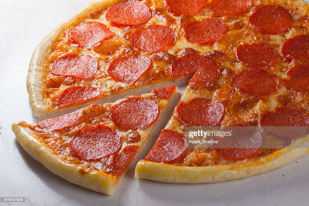 pepperoni pizza in still life close-up : Stock Photo