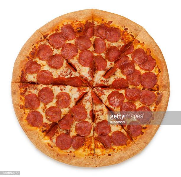 pepperoni pizza on white - pepperoni pizza stock photos and pictures