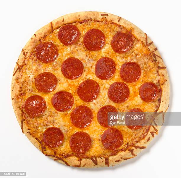 Pepperoni pizza, overhead view