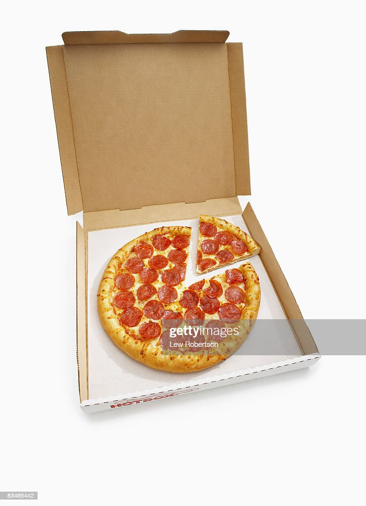 Pepperoni Pizza with slice in box : Stock Photo