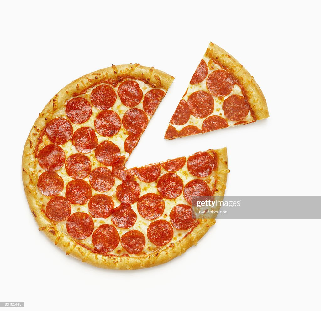 Pepperoni Pizza with Slice : Stock Photo