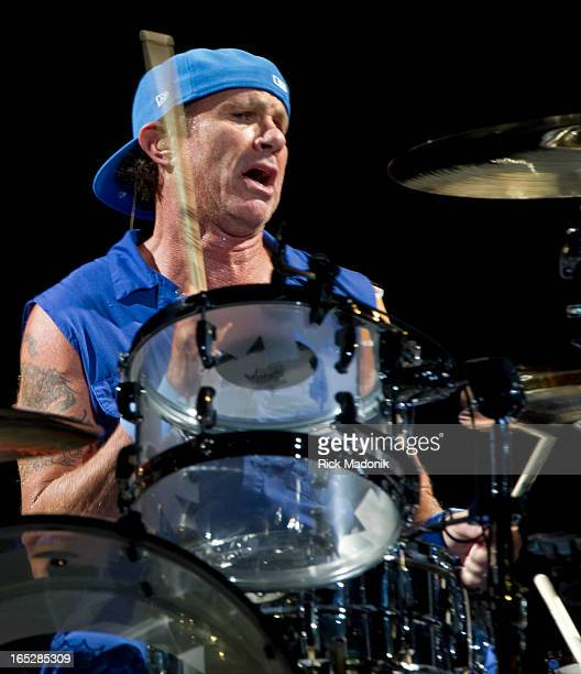 120427 TORONTO ONTARIO Pepper's drummer Chad Smith The Red Hot Chili Peppers play the Air Canada Centre Friday April 27 2012
