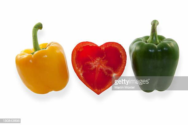 Peppers, yellow, heart-shaped red and green