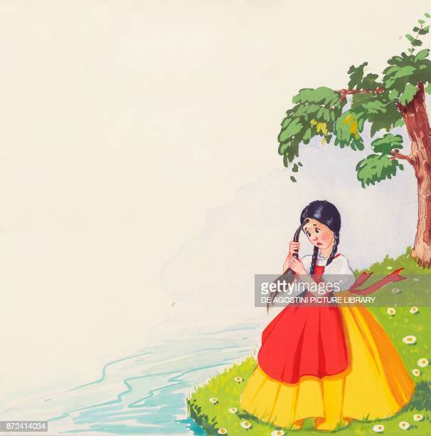 Peppina grew a donkey's tail on her forehead illustration for the Italian fairy tale Gatto Mammone drawing