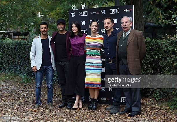 Peppino Mazzotta Marco Bocci Carlotta Antonelli Diane Fleri director Michele Alhaique and Renato Carpentieri attends a photocall for 'Solo' tv serie...