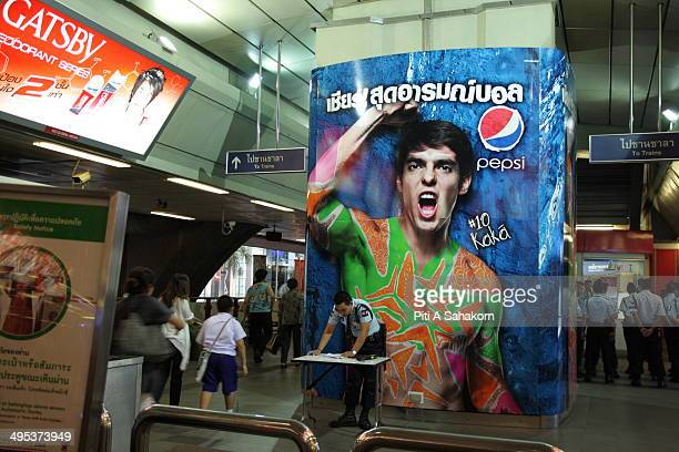 Pepsi billboard advertisement for FIFA World Cup Africa 2010 with Brazilian soccer play-maker Kaka on display at a BTS station in Bangkok.