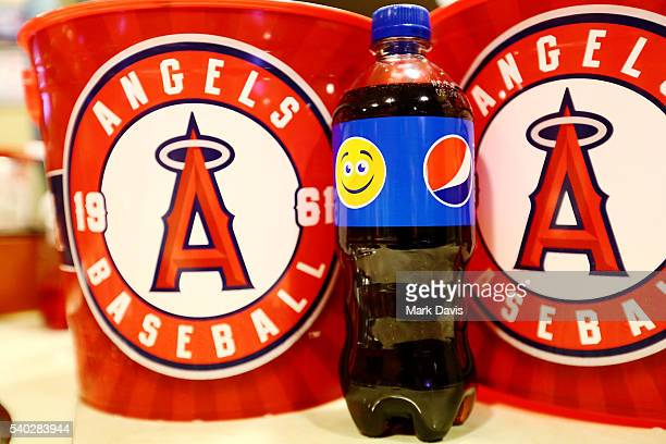 Pepsi celebrates its new PepsiMoji campaign this summer at the Los Angeles Angels Game at Angel Stadium of Anaheim on June 14 2016 in Anaheim...