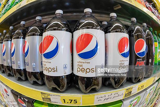 Pepsi Cola diet two litres plastic bottles in store shelf The softdrink is a carbonated soft drink that is produced and manufactured by PepsiCo