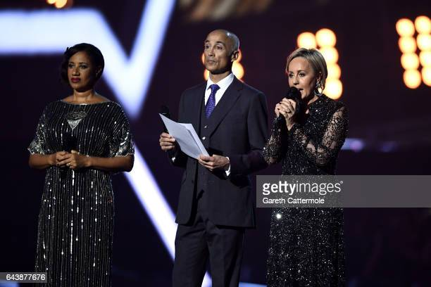 Pepsi DeMacque, Andrew Ridgeley and Shirlie Holliman present a tribute to George Michael on stage at The BRIT Awards 2017 at The O2 Arena on February...