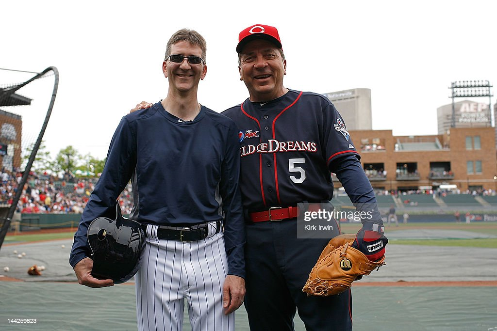 Pepsi MAX 'Field of Dreams' contest winner Tim Wisecup (L) and Johnny Bench pose for a picture prior to the start of the Pepsi MAX 'Field Of Dreams' game at Huntington Park on May 12, 2012 in Columbus, Ohio.